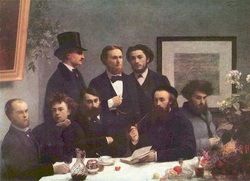 Πίνακας του Ανρί Φαντέν-Λατούρ (1872). Διακρίνεται ο Πωλ Βερλαίν (πρώτος από αριστερά) και δίπλα του ο Αρθούρος Ρεμπώ