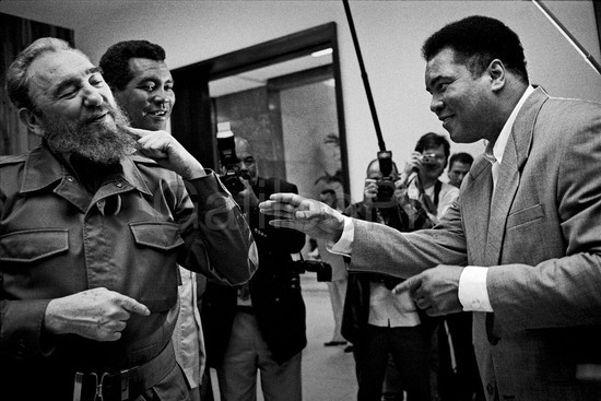 Fidel Castro jokes with Muhammad Ali as Teofilo Stevenson looks on. Havana, Cuba, 1996