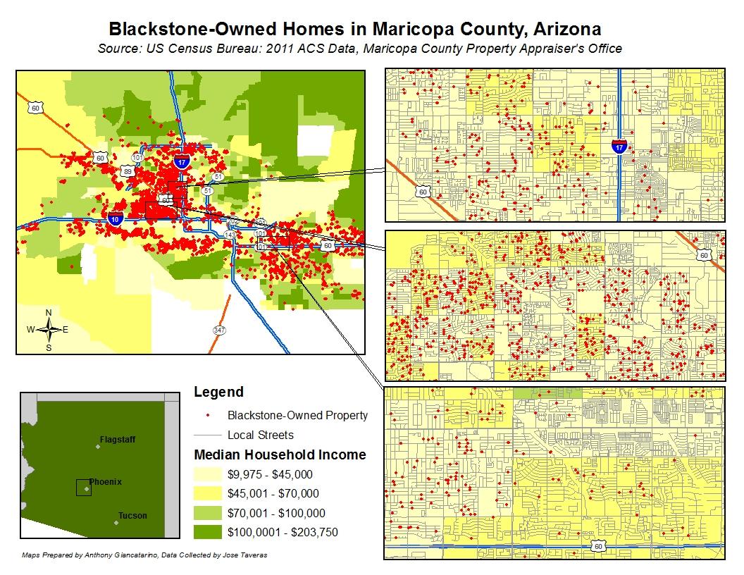 Εικόνα 4: Οι κατοικίες που ανήκουν στην Blackstone στο Φοίνιξ της Αριζόνας. ΠΗΓΗ: TomDispatch.com