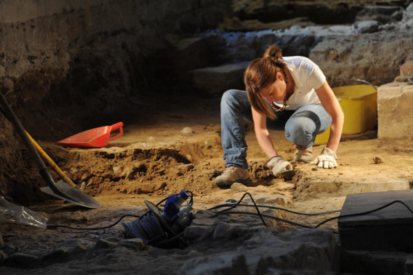 Researchers resume works at the base of an altar found in the former convent of St. Ursula