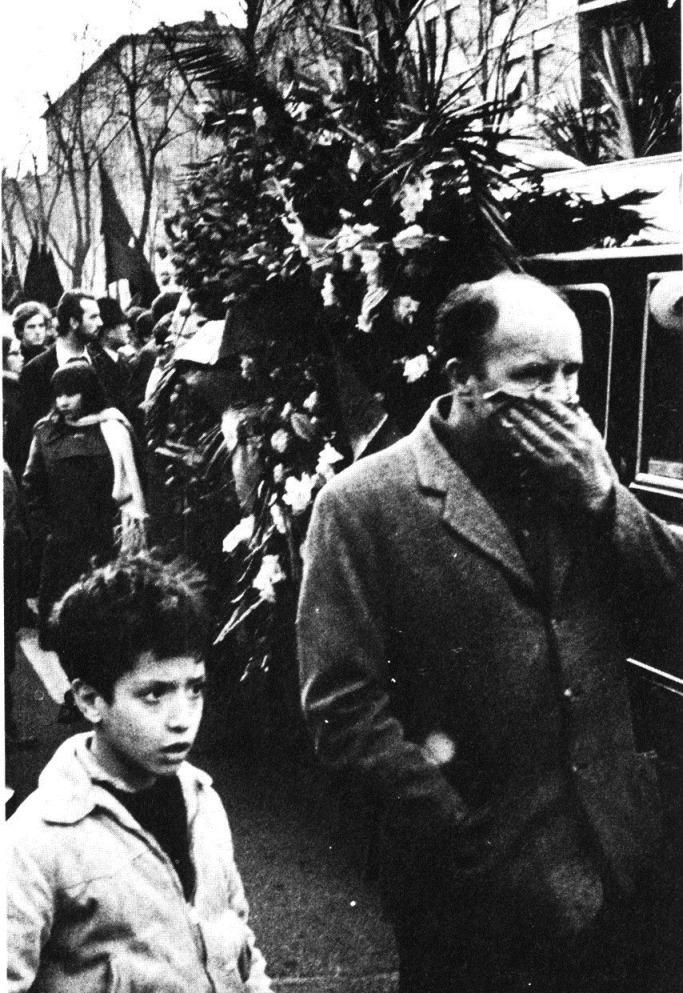 Από την κηδεία του G. Pinelli στις 20 Δεκέμβρη του 1969
