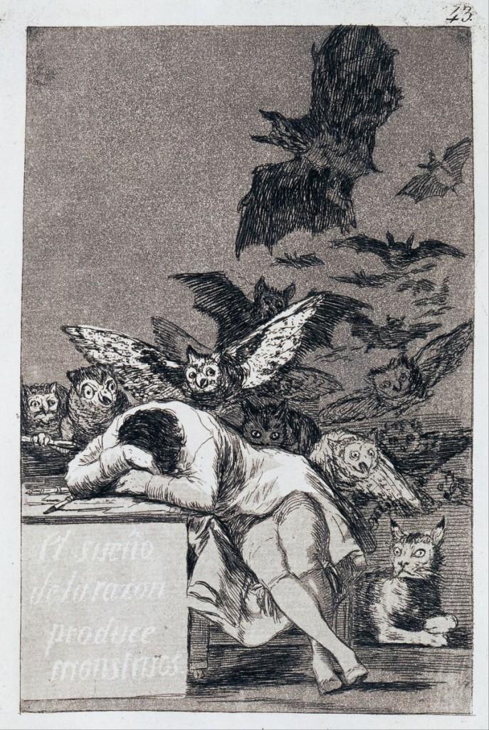 The Sleep of Reason Produces Monsters. (Capricho No 43). Artist: Goya, Francisco, de (1746-1828)