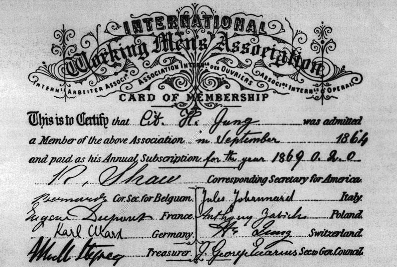 Κάρτα μέλους της Ά Διεθνούς. Διακρίνεται η υπογραφή του Κ. Μαρξ ως γραμματέα του τμήματος των γερμανων εργατών.
