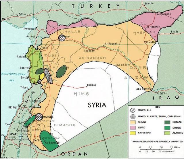 Οι Εθνο-Θρησκευτικοί Διαχωρισμοί της Συρίας το 1976 Με ανοιχτό πράσινο οι περιοχές με πλειοψηφία Αλαουιτών, με ροζ αυτές με Κούρδους, με σομόν αυτές με Σουνίτες Μουσουλμάνους, με σκούρο πράσινο αυτές με Δρούζους, και με άσπρο οι αραιοκατοικημένες ή ανάμεικτες.