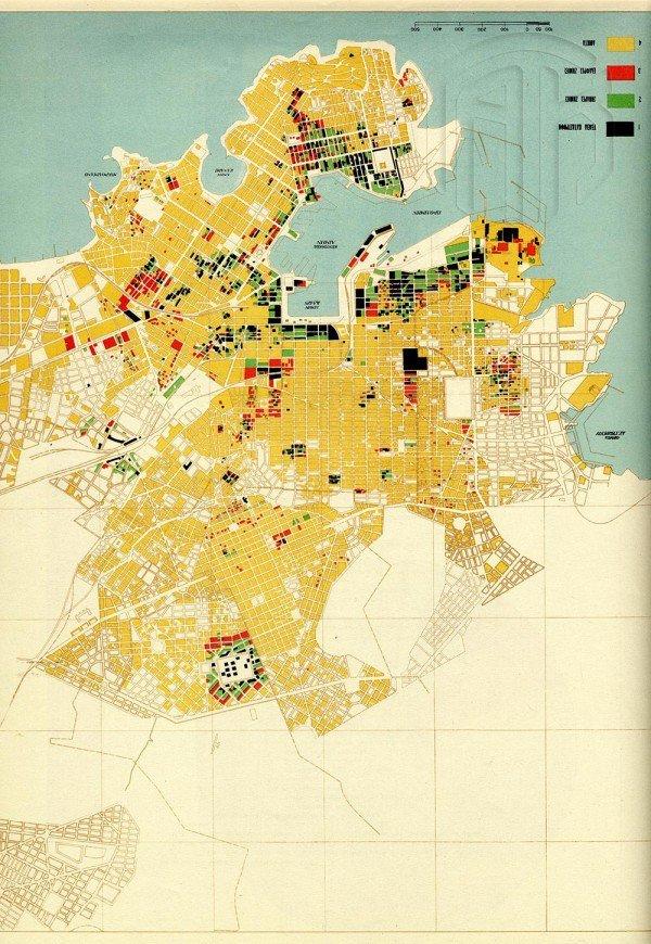 Χάρτης του Πειραιά με επισημάνσεις των περιοχών και του βαθμού των καταστροφών που προκάλεσαν οι Γερμανοί. Υφυπουργείο Ανοικοδομήσεως – Κ. Α. Δοξιάδης (επιμ.), Αι θυσίαι της Ελλάδος στο Δεύτερο Παγκόσμιο Πόλεμο, Αθήνα 1946, Γενικά Αρχεία του Κράτους – Κεντρική Υπηρεσία