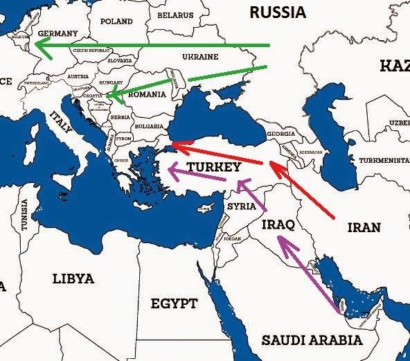 Ρωσικοί Αγωγοί προς Ευρώπη (πράσινο), και πιθανοί Αραβικοί (μωβ) και Ιρανικοί (κόκκινο) Ανταγωνιστικοί Αγωγοί