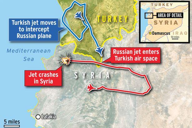 Χάρτης που δείχνει τη διαδρομή (με κόκκινο) του ρωσικού SU-24, τη διαδρομή με μπλέ χρώμα του τουρκικού F-16 και το σημείο πτώσης του ρωσικού αεροσκάφους