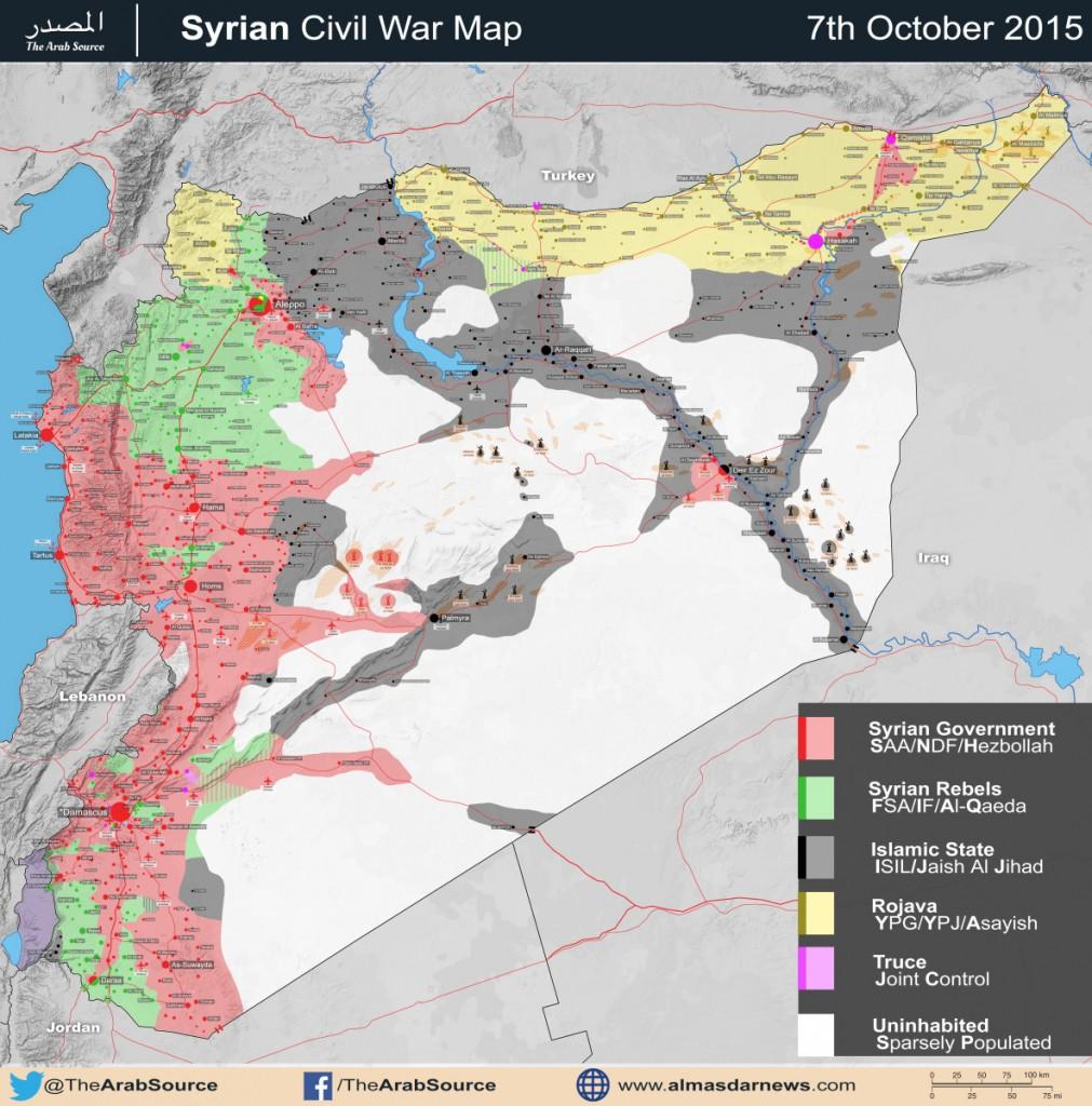 Ποιός ελέγχει ποιό τμήμα του συριακού εδάφους. Τελευταία ενημέρωση 15 Οκτωβρίου 2015