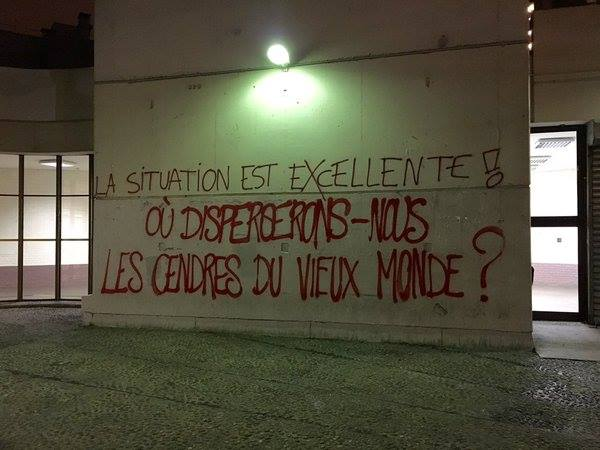 """Παράρτημα του Πανεπιστημίου της Σορβόννης (Tolbiac) στο Παρίσι: ''Η κατάσταση είναι εξαιρετική Που θα σκορπίσουμε τις στάχτες του παλιού κόσμου? """""""