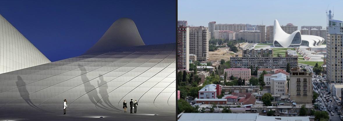 Το Heydar Aliyev centre, στο Μπακού του Αζερμπαϊτζάν, από διαφορετικές λήψεις