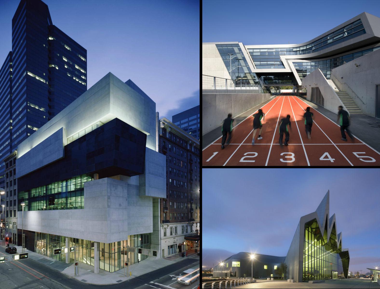 Αριστερά: To Lois & Richard Rosenthal Center for Contemporary Art, στο Σινσινάτι των ΗΠΑ Δεξιά, Πάνω:  Το Evelyn Grace Academy στο Λονδίνο Δεξιά, Κάτω: Το Riverside Museum of Transport στη Γλασκόβη