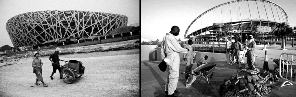 """Αριστερά: Εργασίες κατασκευής της """"φωλιάς"""" των  Χέρτσογκ και ντε Μερόν, για τους Ολυμπιακούς Αγώνες του 2008 στο Πεκίνο. Δεξιά: Εργασίες κατασκευής του σταδίου al-Wakrah της Ζάχα Χαντίντ για το Μουντιάλ του 2022 στο Κατάρ."""