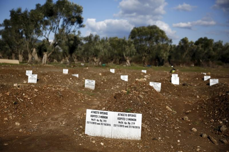 """Tombstones are placed on graves of unidentified refugees and migrants who drowned at sea during an attempt to cross a part of the Aegean Sea from the Turkish coast, at a cemetery near the village Kato Tritos on the Greek island of Lesbos February 6, 2016.  The tombstones read """"Unknown infant, Girl 3 months old, no.31"""" (L) and """"Unknown infant, Girl 3 months old, no.36"""".  REUTERS/Giorgos Moutafis"""