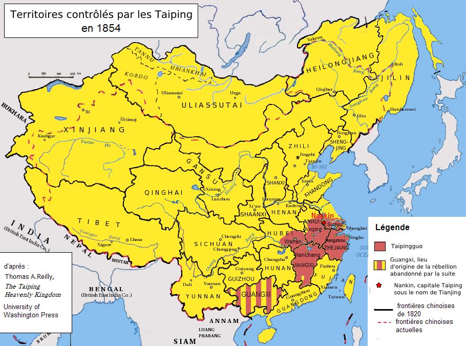 Περιοχές ελέγχου των Ταϊπίνγκ το 1854