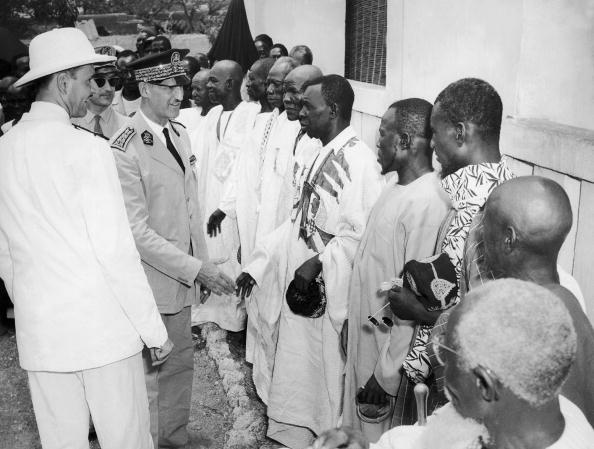 BURKINA FASO - JANUARY 01: Around 1957-1958, In Upper Volta, Gaston Cusin, High Commissioner Of France In Aof (French West Africa) Is Visiting The Goldfield In Poura Area. (Photo by Keystone-France/Gamma-Keystone via Getty Images)