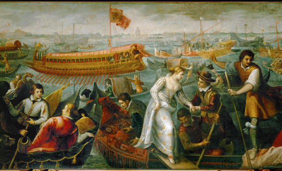 Queen Caterina Cornaro (1454-1510), widow of King Jacob II of Cyprus, arrives in Venice, forced by the Republic to abdicate. She retired to her elegant court at Asolo in northern Italy. Oil on canvas