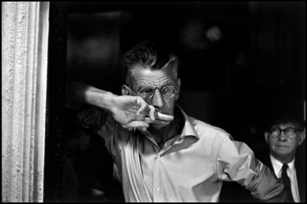 "USA. NYC. 1964. Samuel BECKETT. Rehearsal of ""Waiting for Godot""."