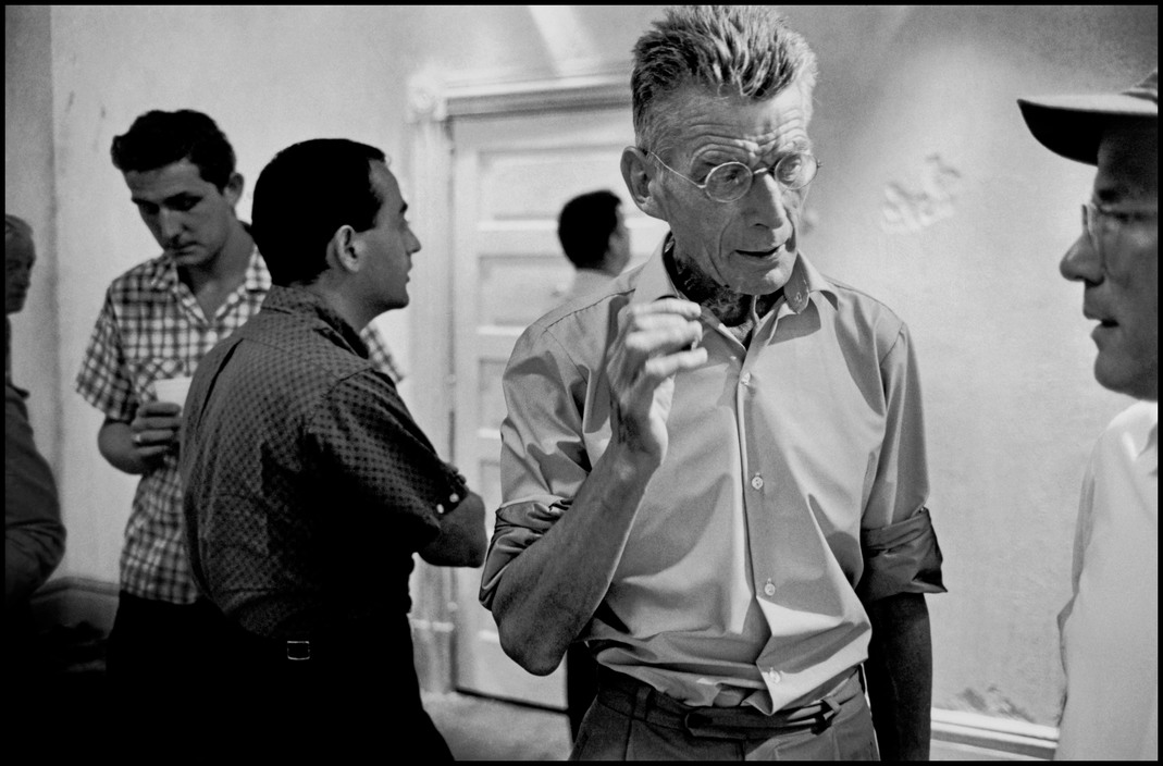 "USA. NYC. Samuel BECKETT at the rehearsal of ""Waiting for Godot""."