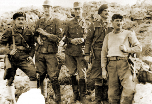 The saboteurs: (left to right): George Tyrakis, Stanley Moss, Leigh Fermor, Manolis Paterakis and Leonidas Papaleonidas.