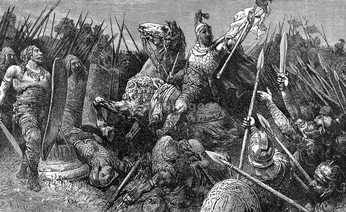 """19th-century illustration, """"Sortie of Belisarius from Rome,"""" drawn by H. Vogel. Byzantine general Belisarius embarks on a mission against the Goths during the 6th century A.D."""