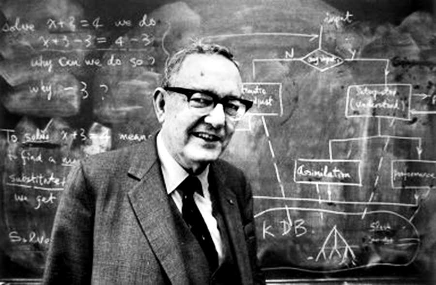 Nobel prize winner Dr. Herbert Simon in his office at Carnegie Mellon University, March 16, 1986. The computer expert was recognized for advancing the science of artificial intelligence. (PG Archives/Jim Fetters) historical Original Filename: pg archive Herbert Simon.jpg millennium century project