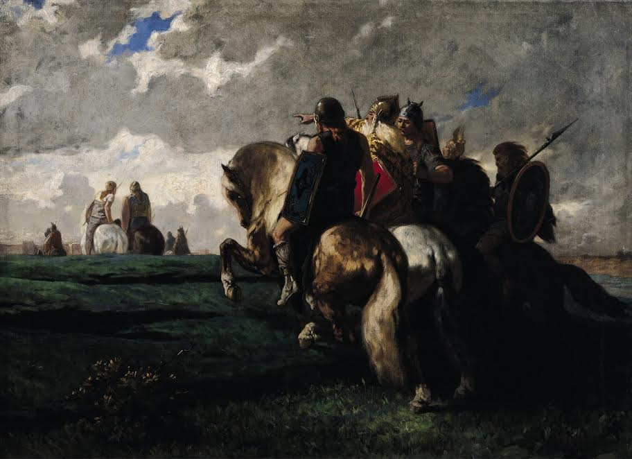XIR169183 The Barbarians Before Rome (oil on canvas) by Luminais, Evariste Vital (1822-96); 73x100 cm; Musee des Beaux-Arts, Dunkirk, France; Giraudon; French,  out of copyright