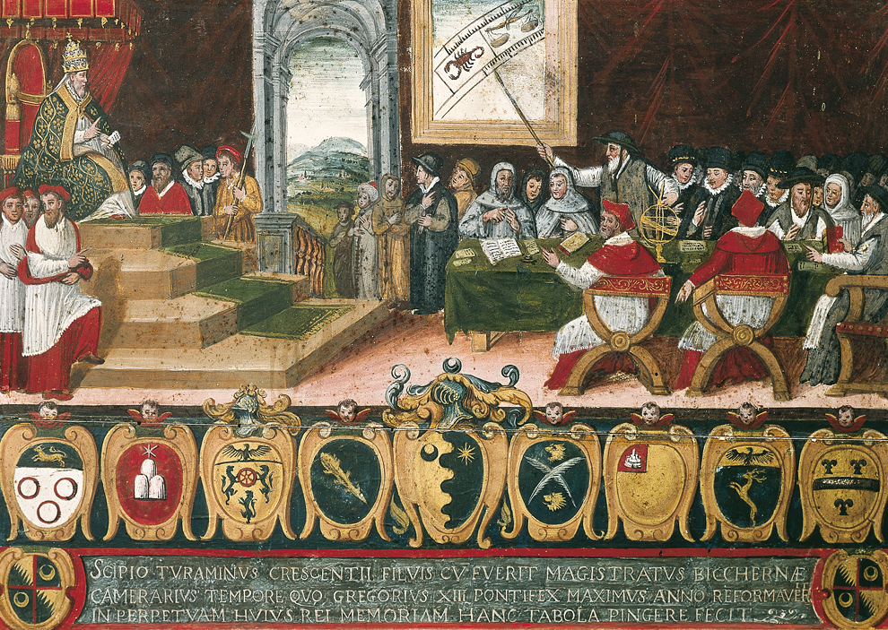 UNSPECIFIED - DECEMBER 10: Pope Gregory XIII chairing the commission for reforming Roman Calendar (1582-1583), illustration (Photo by DEA / G. DAGLI ORTI/De Agostini/Getty Images)